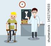 man with broken leg. patient in ... | Shutterstock .eps vector #1422719033