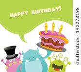 birthday monsters card  vector  | Shutterstock .eps vector #142273198