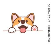funny corgi dog paws up over... | Shutterstock .eps vector #1422740570