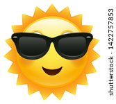 happy sun emoji sunglasses.... | Shutterstock .eps vector #1422757853