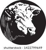 cow   retro ad art illustration ... | Shutterstock .eps vector #1422799649