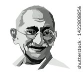 Mahatma Gandhi face head vector template illustration. Indian activist who was the leader of the Indian independence movement against British rule who promoted non violence.
