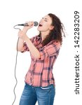 Beautiful Girl With Microphone...