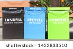 Small photo of Large Cardboard boxes for separating trash. Marked for Landfill, Recycling and compost in bright colors. Labeled in English, Spanish and Chinese, Common languages spoken in San Francisco, California