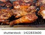 Turkey Legs Grilling On A Bbq...