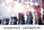 double exposure of fireworks... | Shutterstock . vector #1422865520