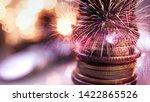 double exposure of fireworks... | Shutterstock . vector #1422865526