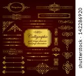 calligraphic gold design... | Shutterstock .eps vector #142286920