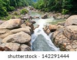Cascades Of Fast  Mountain Falls