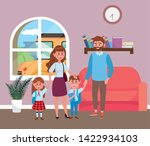 parents with kids going to... | Shutterstock .eps vector #1422934103