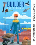 Builder with work tools on building site vector design of construction industry professions and occupations. Build worker in uniform with hammer, wheelbarrow and trowel, cement bags, helmet and ruler - stock vector