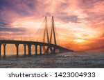 Bandra Worli sea link bridge of Mumbai and golden dramatic sky and cloud