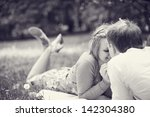 romantic picnic in the park | Shutterstock . vector #142304380