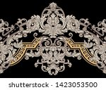 antique style gold flowers ... | Shutterstock . vector #1423053500