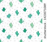 Cute Seamless Cactus Pattern...