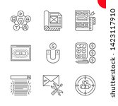 seo line icons set. seo vector... | Shutterstock .eps vector #1423117910