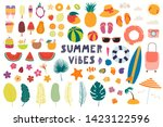 big summer set with fruits ... | Shutterstock .eps vector #1423122596