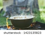 Hot Food On A Campfire In...