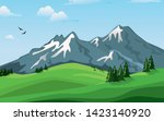 mountain landscape against the ... | Shutterstock . vector #1423140920