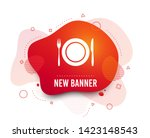 fluid badge. plate dish with... | Shutterstock .eps vector #1423148543