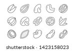 nuts and seeds line icons.... | Shutterstock .eps vector #1423158023