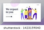 press conference mass media...   Shutterstock .eps vector #1423159040
