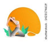 international yoga day header... | Shutterstock .eps vector #1423174619