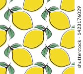 lemon seamless pattern of color ... | Shutterstock .eps vector #1423176029