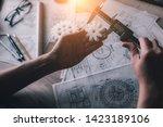 young woman industrial engineer ... | Shutterstock . vector #1423189106