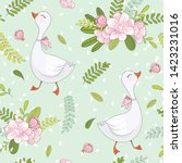 cute goose with flowers... | Shutterstock .eps vector #1423231016