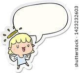 cute cartoon angel with speech... | Shutterstock .eps vector #1423232603