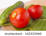 photo of fresh vegetables on a... | Shutterstock . vector #142323460