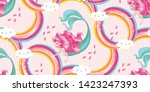 cute mermaid in the sky with... | Shutterstock .eps vector #1423247393