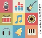 retro music icons | Shutterstock .eps vector #142325176
