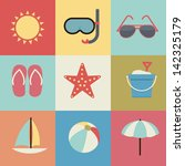 summer icons retro | Shutterstock .eps vector #142325179