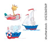 Set of cute cartoon animals giraffe hare and elephant on a sea and air transport, a sailboat plane and a steamship for a child