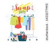 swap party preparation flat... | Shutterstock .eps vector #1423277993