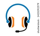 headphone icon. flat... | Shutterstock .eps vector #1423292579