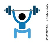 lifting weights icon. flat... | Shutterstock .eps vector #1423292609