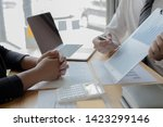managers and accountants have... | Shutterstock . vector #1423299146