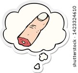 cartoon severed finger with...