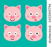 cute pig vector illustration.... | Shutterstock .eps vector #1423345796
