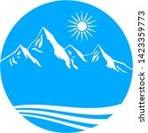mountains blue button vector... | Shutterstock .eps vector #1423359773