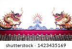 chinese dragon ornament on roof ... | Shutterstock . vector #1423435169