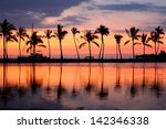 Stock photo paradise beach sunset or sunrise with tropical palm trees summer travel holidays vacation getaway 142346338