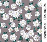 seamless flower pattern on grey | Shutterstock .eps vector #1423509026