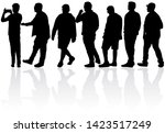 black silhouette of a man.... | Shutterstock . vector #1423517249