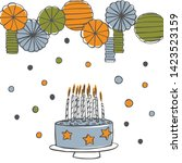 birthday cake with candles.   ... | Shutterstock .eps vector #1423523159