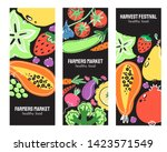 vegetables and fruits food hand ... | Shutterstock .eps vector #1423571549
