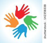 hand print icon 4 colors ... | Shutterstock .eps vector #142358338